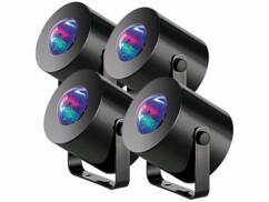 Lot de 4 mini lumières disco à LED, par Lunartec.