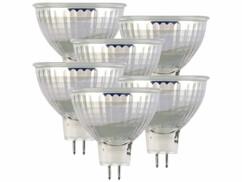 Lot de 6 spots LED GU5.3 avec une capacité de 6 W et une luminosité de 500 lumens.