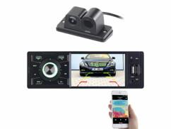 Autoradio à écran couleur CAS-3445.bt livré avec une caméra de recul avec aide au stationnement.