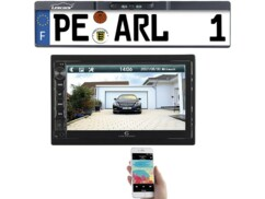 Caméra de recul sans fil pour support de plaque d'immatriculation avec autoradio CAS4445.bt pour affichage des images sur grand écran couleur.