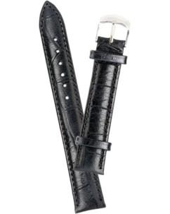 Bracelet de montre cuir aspect croco - noir            12 mm