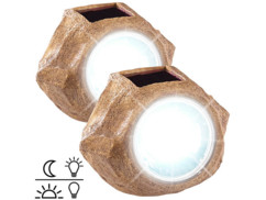 2 lampes de jardin solaire à LED aspect pierre