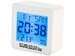 Réveil digital radio-piloté avec calendrier et thermomètre intégré