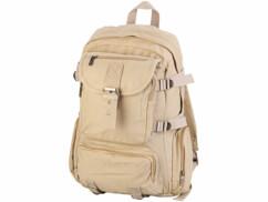 Sac à dos en toile beige avec compartiment PC portable - 11,5 L