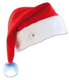 Bonnet de Père Noël à LED avec pompon lumineux couleur