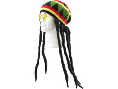 Bonnet jamaïcain avec dreadlocks & lunettes