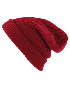 Bonnet tricoté rouge foncé