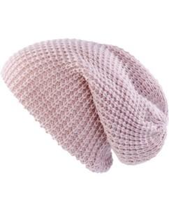 Bonnet tricoté XXL''Long Beanie'' - rose