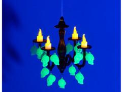 Éclairage d'Halloween : Bougeoir à LED Lunartec avec crânes, qui brille dans le noir Image 1