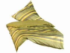 Parure de lit sans repassage - jaune / vert olive