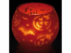 Bougeoir double paroi orange avec motifs Halloween : chauve-souris, citrouille