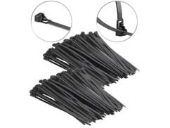 200 colliers de serrage réutilisables - Noir - 250x 7,6mm