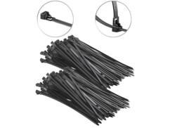 200 colliers de serrage réutilisables - Noir - 300x 7,6mm