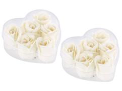 12 savons en forme de roses blanches avec 2 coffrets cadeaux