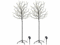 2 arbres lumineux solaires 150 cm avec 200 bourgeons LED