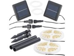 Lot de 2 bandes LED solaires blanc chaud Lunartec.