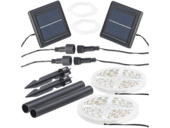 Lot de 2 bandes LED solaires blanc clair Lunartec.