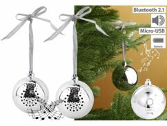 2 boules de Noël avec bluetooth et haut-parleur intégré - Argent