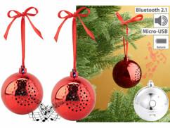 2 boules de Noël avec bluetooth et haut-parleur intégré - Rouge