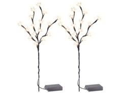 Lot de 2 branches ornées de mini-LED Lunartec.