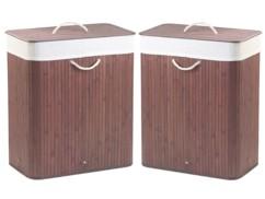 Deux corbeilles à linge en bambou de 100 L brunes par Infactory.