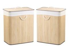 Deux corbeilles à linge en bambou de 100 L naturelles par Infactory.
