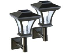 2 lampadaires LED solaires pour fixation murale