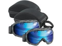 2 masques de ski avec 2 étuis de transport rigides