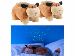 2 peluches Chien Tobias avec projections lumineuses