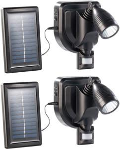 2 projecteurs extérieur LED solaire 3 W - noir