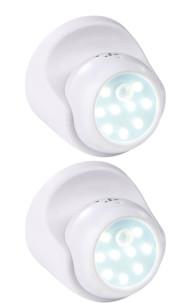 2 spots LED sans fil 2 W avec capteurs de mouvement et d'obscurité