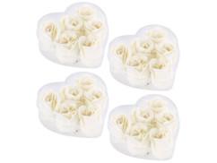 24 savons en forme de roses blanches avec 4 coffrets cadeaux