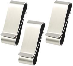 3 doubles pinces à billets en acier inoxydable