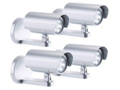 4 caméras de surveillance factices 6 LED avec capteur PIR