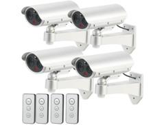 4 caméras de surveillance factices avec détecteur infrarouge et fonction alarme