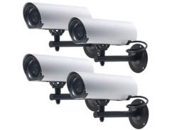 4 caméras factices à LED en aluminium