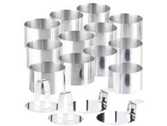 12 emporte-pièces ronds Ø 8 cm avec poussoirs et supports