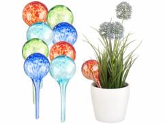 8 doseurs d'irrigation en verre coloré - Ø 6 cm