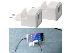 2 chargeurs secteur USB 3,4 A avec 3 ports USB et un support pour téléphone