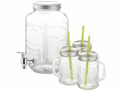 Distributeur de boisson 3,5 L avec 3 verres rétro