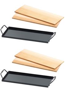 Ensemble de 4 planches à fumer en bois de cèdre avec 2 plaques en métal