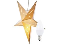 Étoile de Noël lumineuse en papier blanc avec ampoule bougie Infactory.