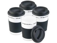 "4 gobelets ""Coffee To Go"" à double-paroi avec couvercle - 350 ml"