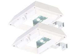 2 lampes solaires à LED 6 W pour mur et gouttière avec capteur PIR - Blanc