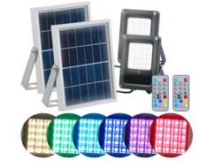 2 projecteurs solaires à LED RVBB 10W avec télécommande