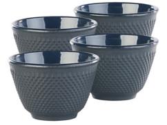 Set de 4 tasses à thé style Arare japonais - Noir