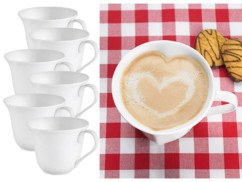 6 tasses en porcelaine en forme de cœur
