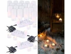 18 bougies plates à LED flamme scintillante