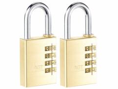 2 cadenas à code 4 chiffres - Laiton - 38 mm