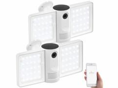 2 caméras de surveillance connectées IP Full HD avec projecteur LED FLK-100.app
